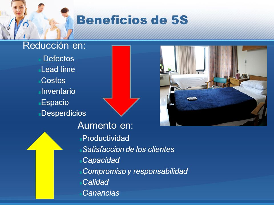 Beneficios de 5S Reducción en: Aumento en: Defectos Lead time Costos