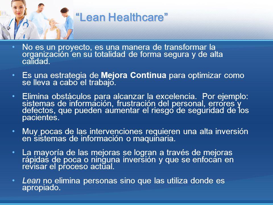 Lean Healthcare No es un proyecto, es una manera de transformar la organización en su totalidad de forma segura y de alta calidad.