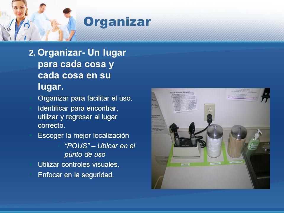 Organizar 2. Organizar- Un lugar para cada cosa y cada cosa en su lugar. Organizar para facilitar el uso.