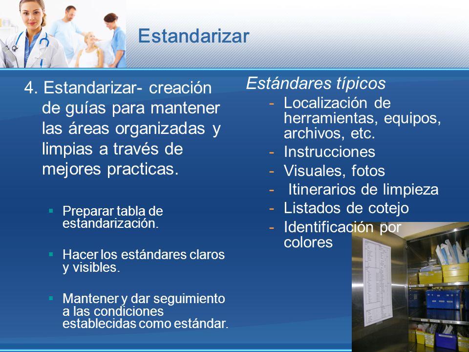 Estandarizar 4. Estandarizar- creación de guías para mantener las áreas organizadas y limpias a través de mejores practicas.