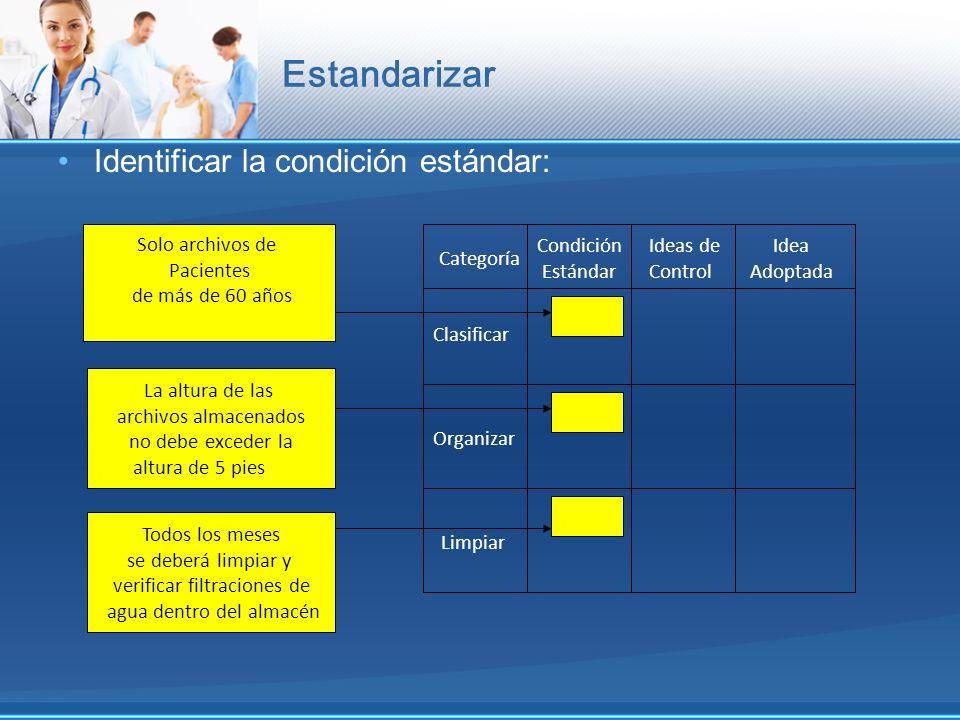 Estandarizar Identificar la condición estándar: Solo archivos de