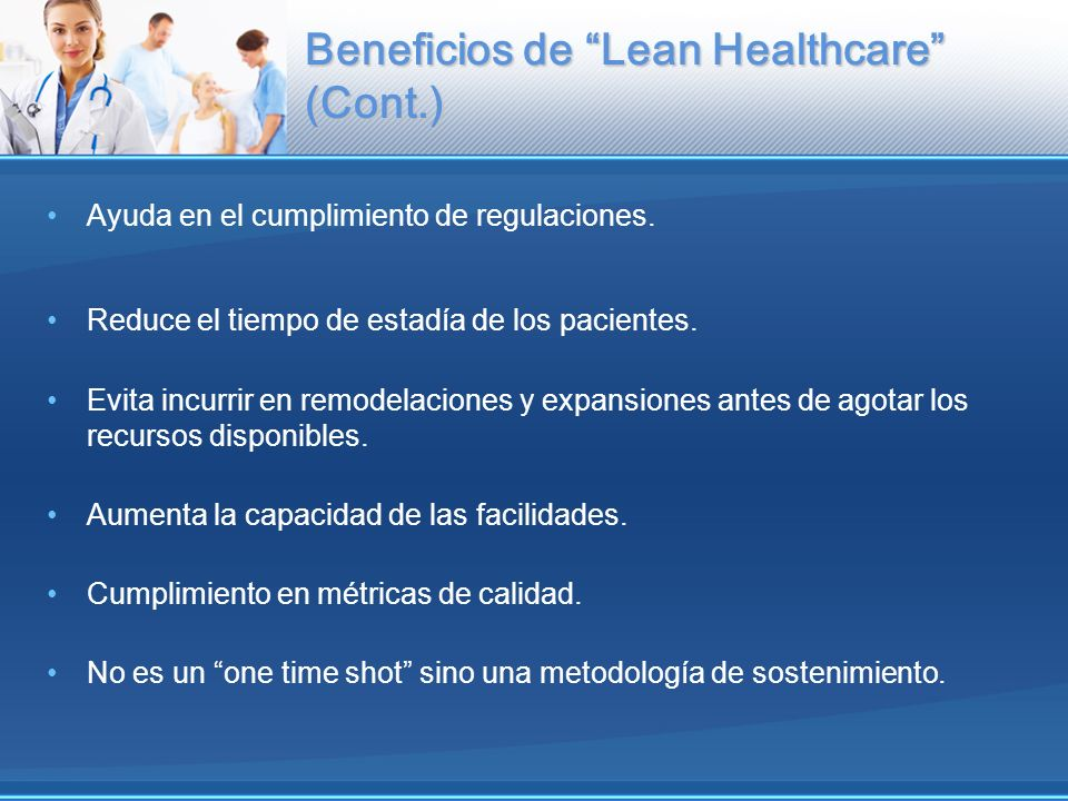 Beneficios de Lean Healthcare (Cont.)