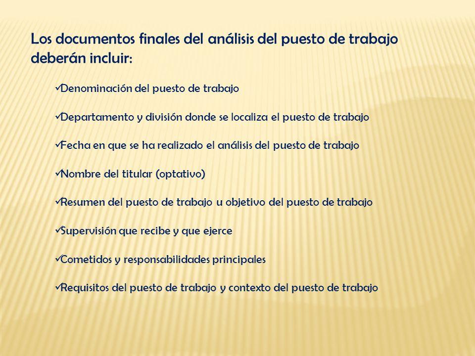 Los documentos finales del análisis del puesto de trabajo deberán incluir: