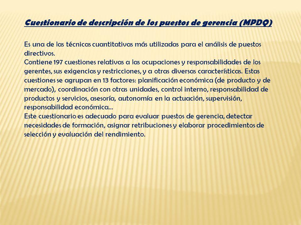 Cuestionario de descripción de los puestos de gerencia (MPDQ)