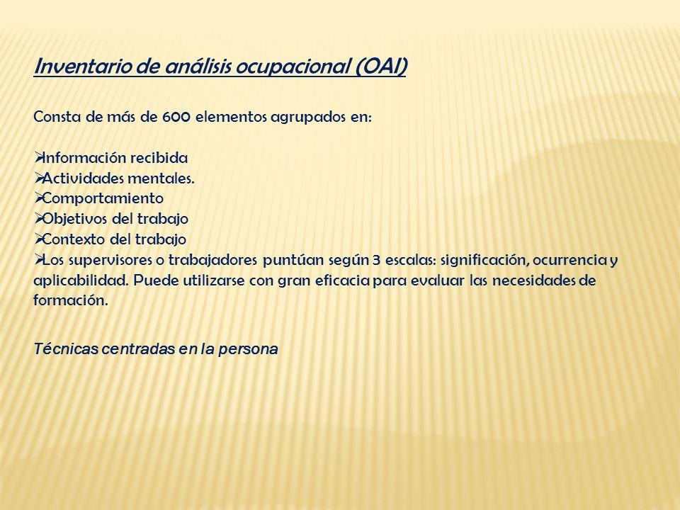 Inventario de análisis ocupacional (OAI)