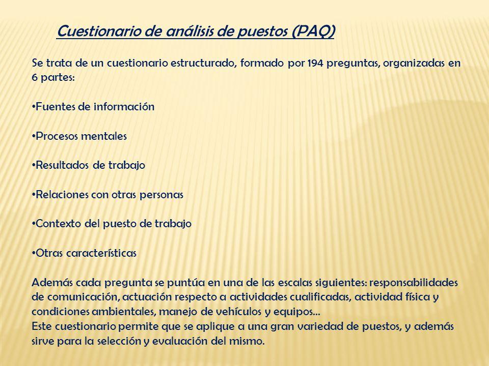 Cuestionario de análisis de puestos (PAQ)