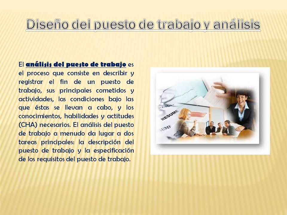 Diseño del puesto de trabajo y análisis