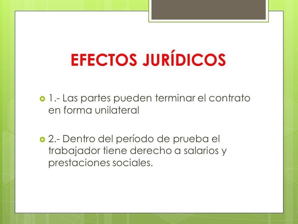 EFECTOS JURÍDICOS 1.- Las partes pueden terminar el contrato en forma unilateral.