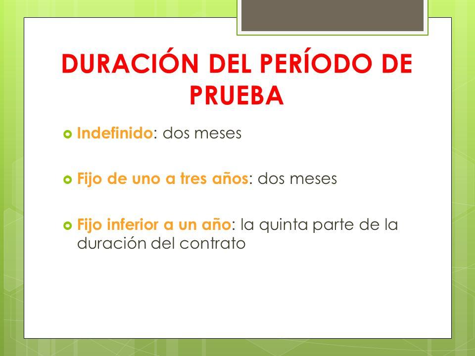 DURACIÓN DEL PERÍODO DE PRUEBA