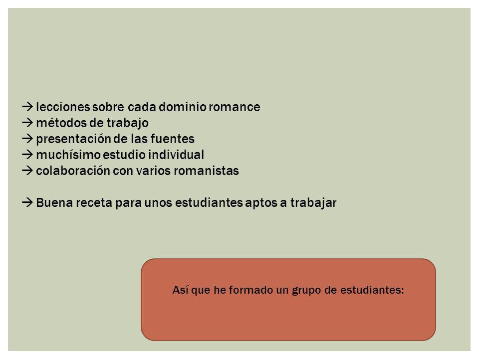 lecciones sobre cada dominio romance métodos de trabajo