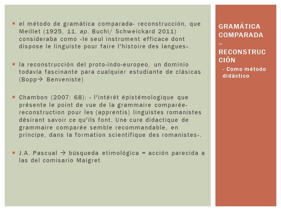 Gramática comparada – reconstrucción