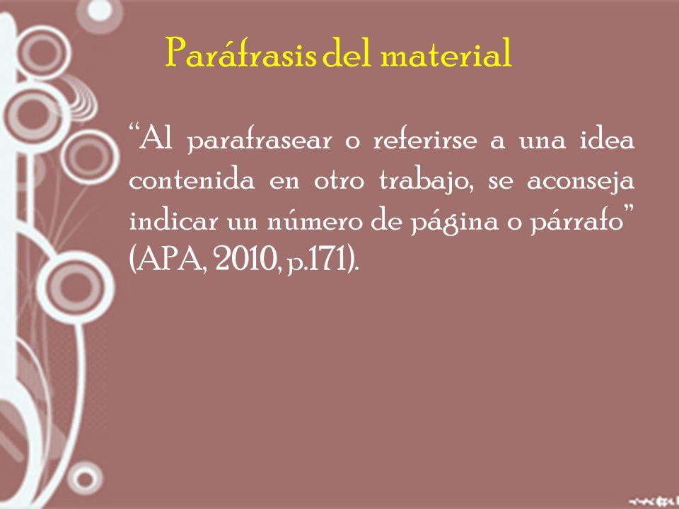 Paráfrasis del material