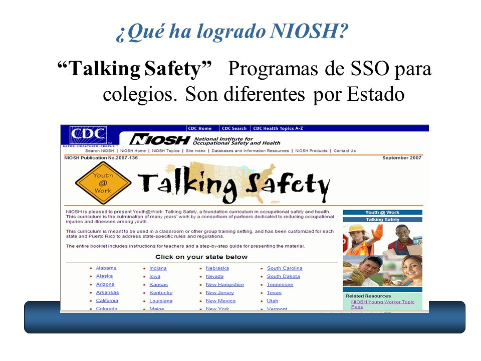 ¿Qué ha logrado NIOSH Talking Safety Programas de SSO para colegios. Son diferentes por Estado
