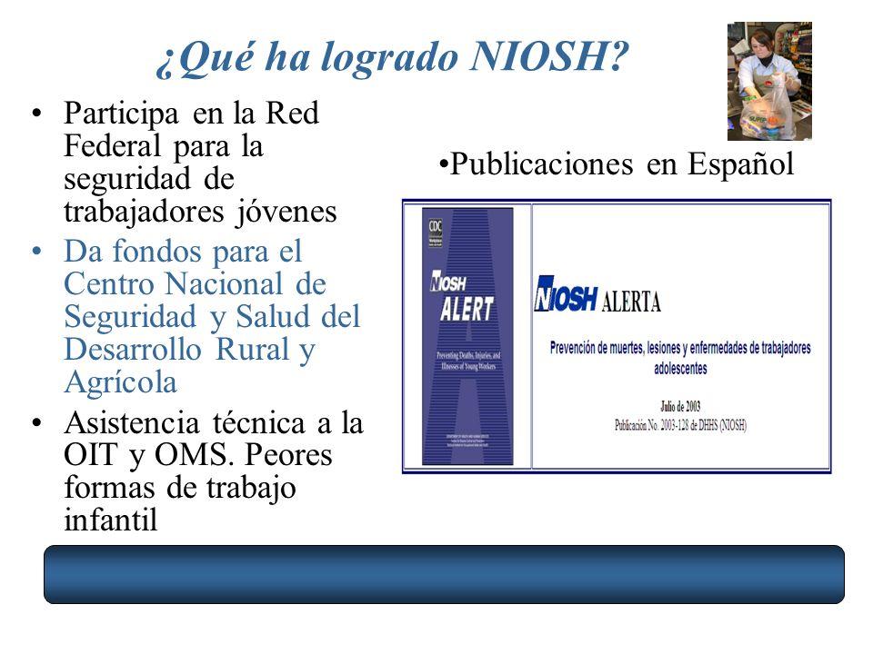 ¿Qué ha logrado NIOSH Participa en la Red Federal para la seguridad de trabajadores jóvenes.