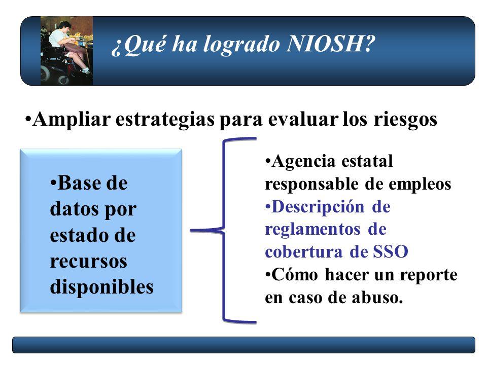 ¿Qué ha logrado NIOSH Ampliar estrategias para evaluar los riesgos