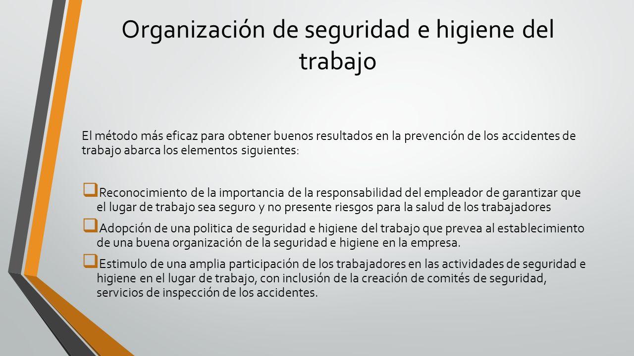 Organización de seguridad e higiene del trabajo