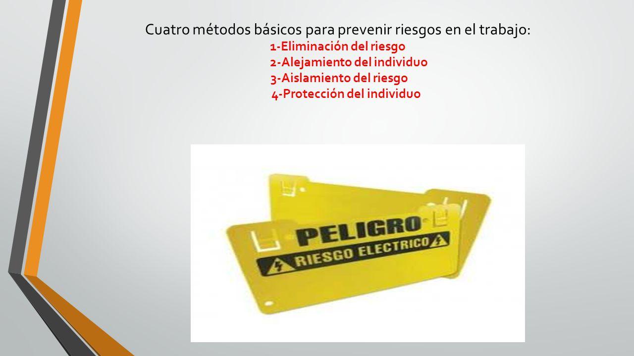 Cuatro métodos básicos para prevenir riesgos en el trabajo: 1-Eliminación del riesgo 2-Alejamiento del individuo 3-Aislamiento del riesgo 4-Protección del individuo