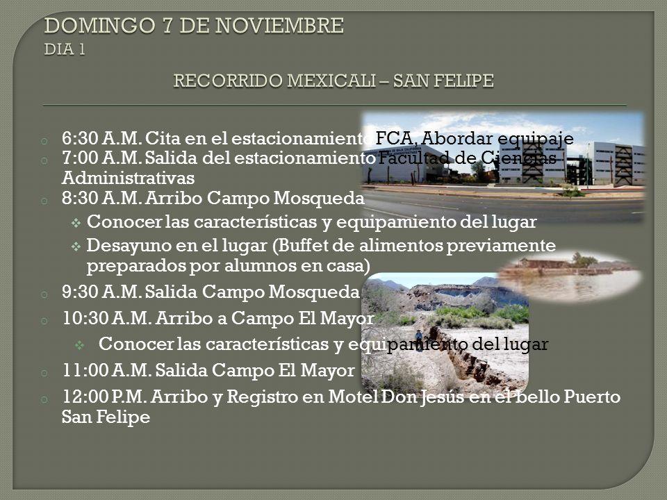 DOMINGO 7 DE NOVIEMBRE DIA 1 RECORRIDO MEXICALI – SAN FELIPE
