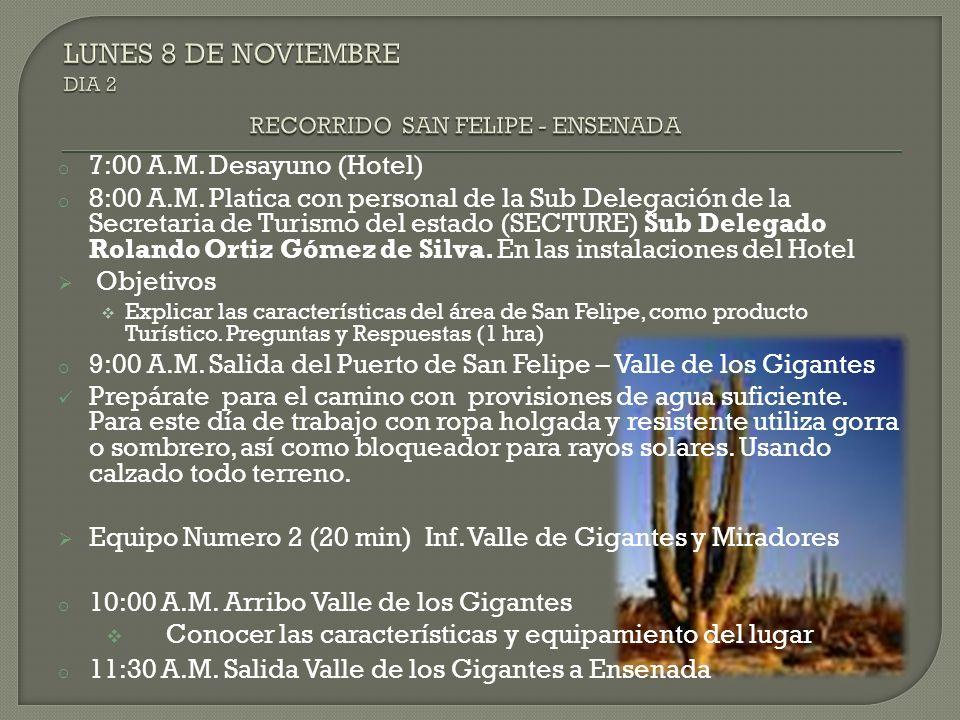 LUNES 8 DE NOVIEMBRE DIA 2 RECORRIDO SAN FELIPE - ENSENADA