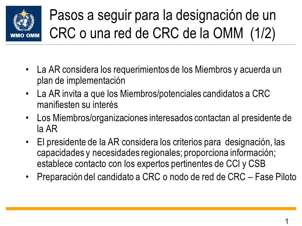 Pasos a seguir para la designación de un CRC o una red de CRC de la OMM (1/2)