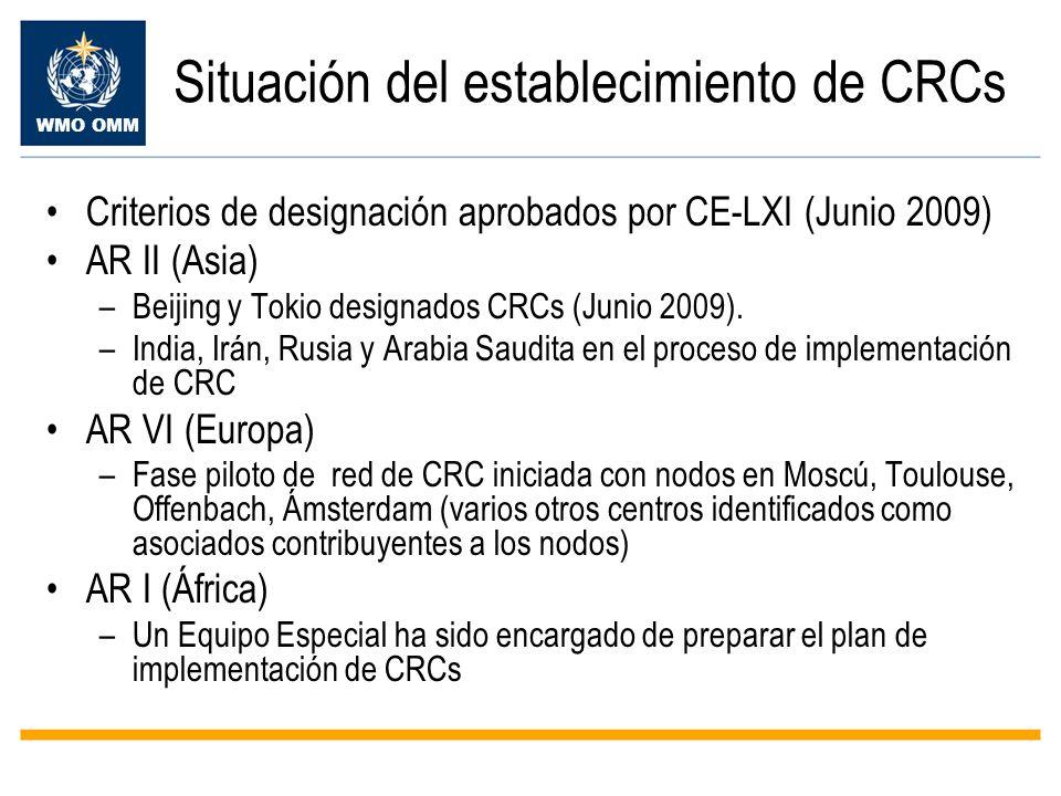 Situación del establecimiento de CRCs
