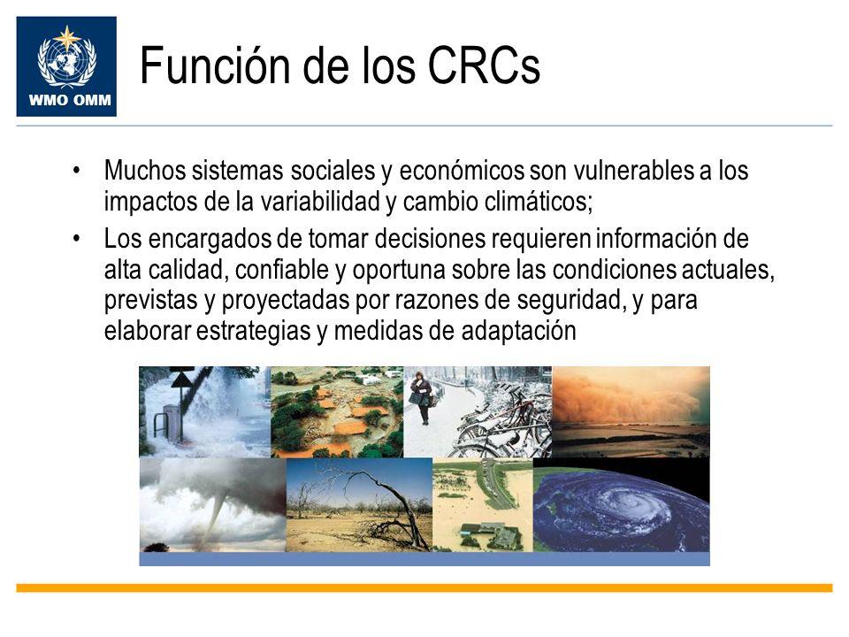 Función de los CRCs Muchos sistemas sociales y económicos son vulnerables a los impactos de la variabilidad y cambio climáticos;