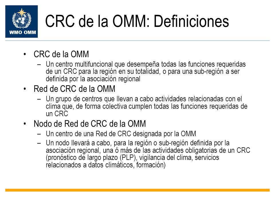 CRC de la OMM: Definiciones
