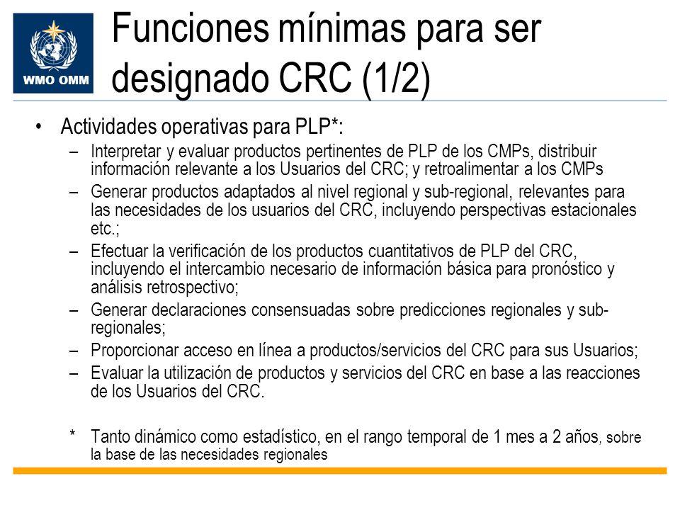Funciones mínimas para ser designado CRC (1/2)