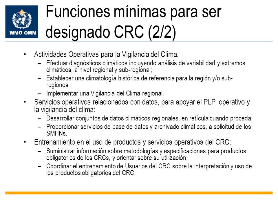 Funciones mínimas para ser designado CRC (2/2)