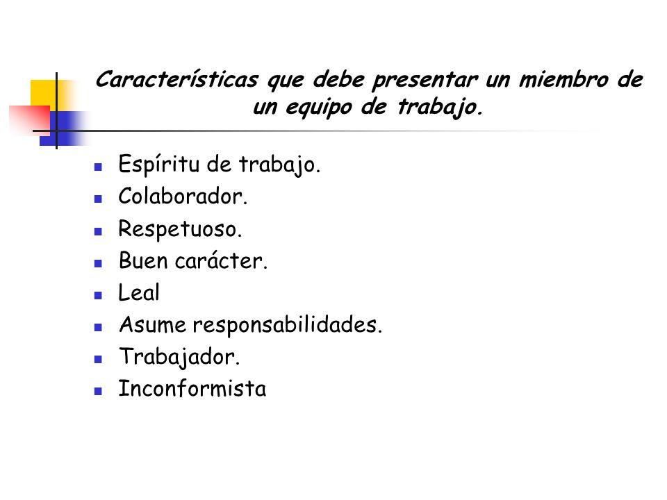 Características que debe presentar un miembro de un equipo de trabajo.