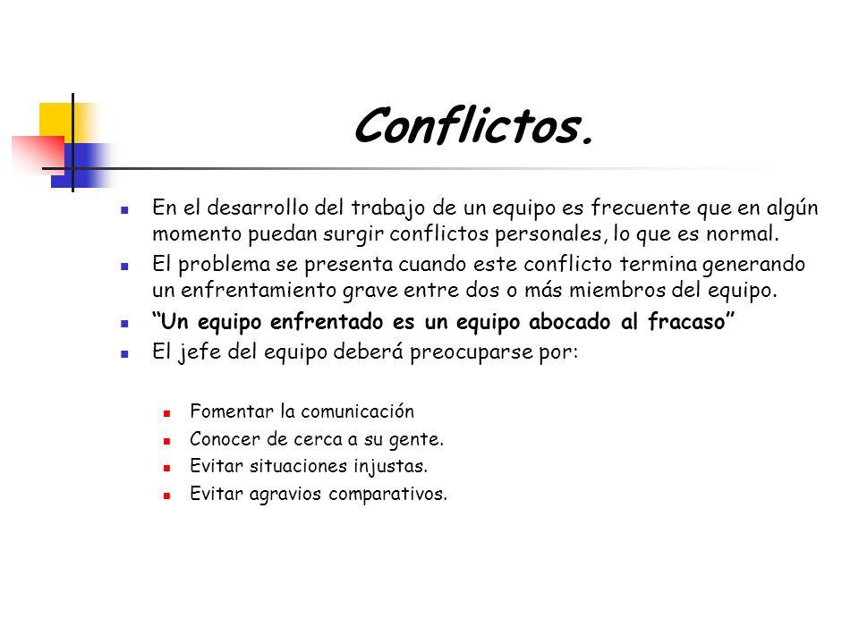 Conflictos. En el desarrollo del trabajo de un equipo es frecuente que en algún momento puedan surgir conflictos personales, lo que es normal.