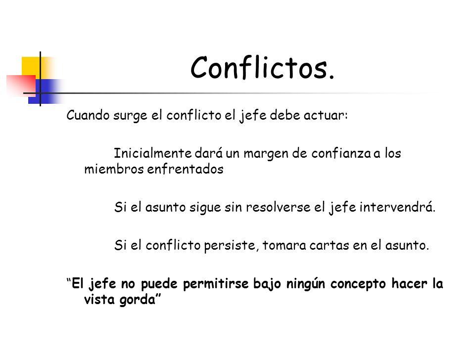 Conflictos. Cuando surge el conflicto el jefe debe actuar:
