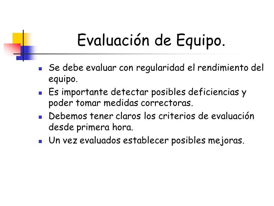 Evaluación de Equipo. Se debe evaluar con regularidad el rendimiento del equipo.