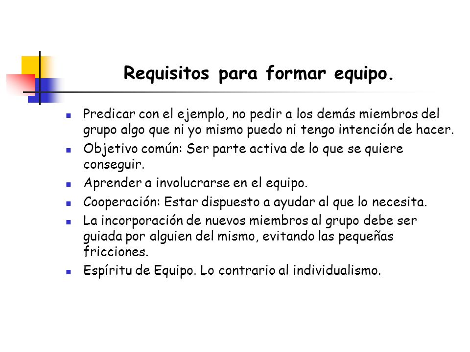 Requisitos para formar equipo.
