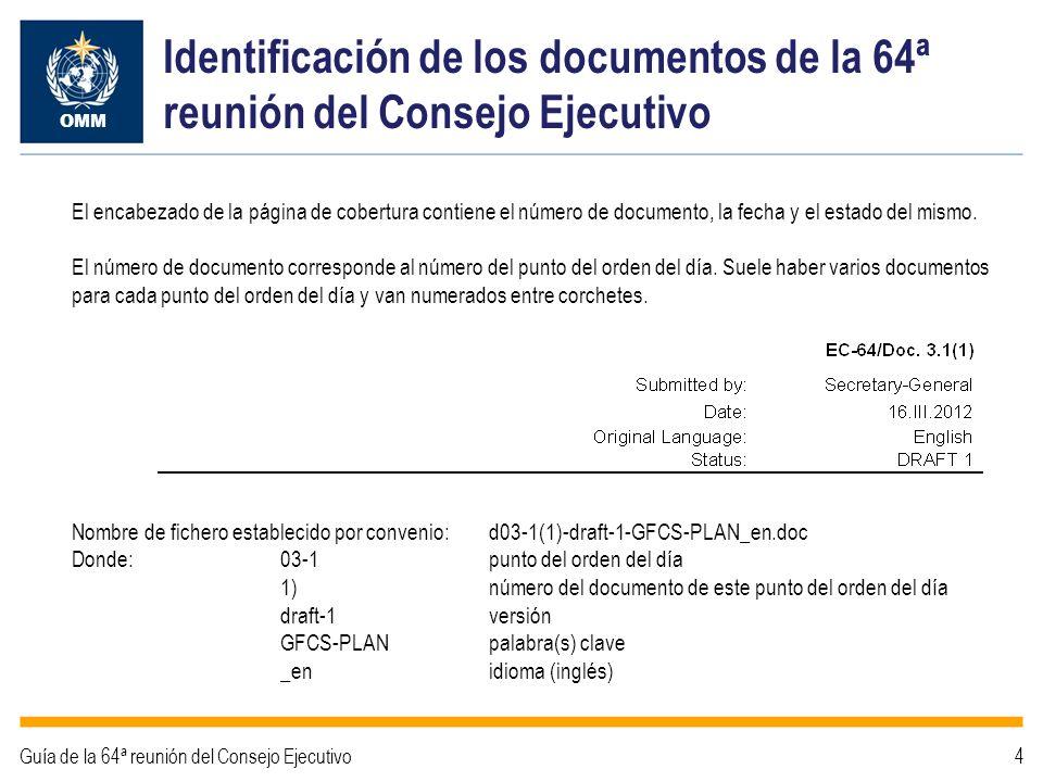 Identificación de los documentos de la 64ª reunión del Consejo Ejecutivo