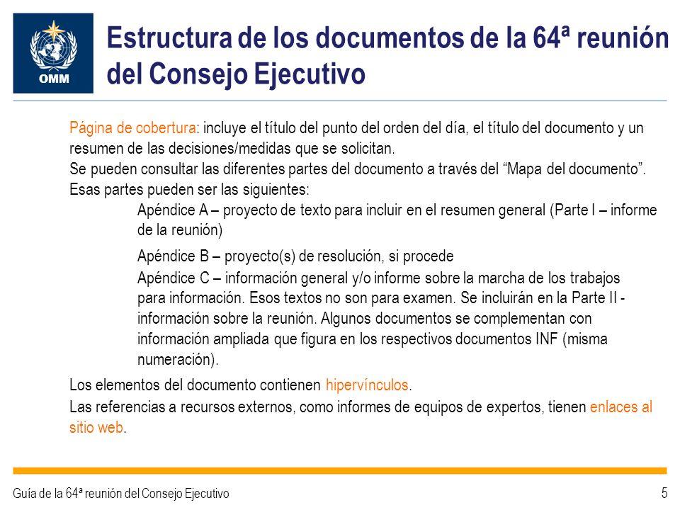 Estructura de los documentos de la 64ª reunión del Consejo Ejecutivo