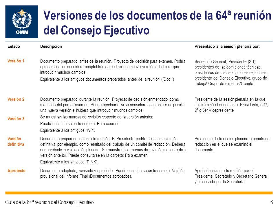 Versiones de los documentos de la 64ª reunión del Consejo Ejecutivo