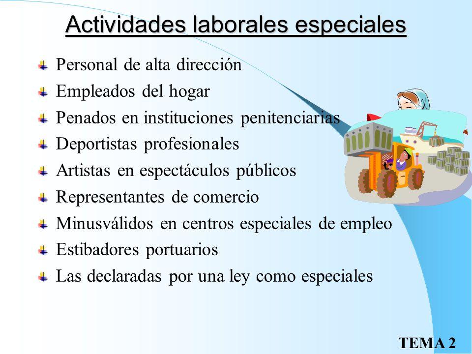 Actividades laborales especiales