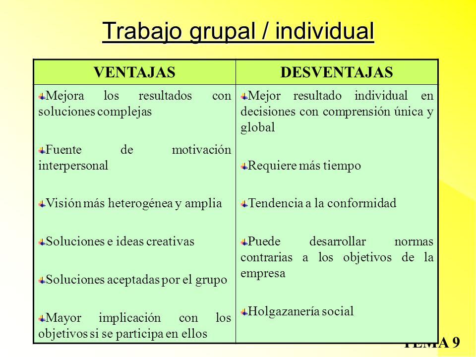 Trabajo grupal / individual
