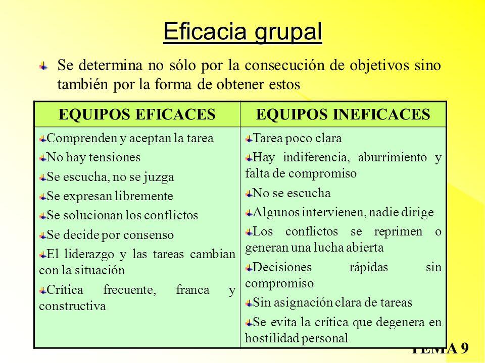 Eficacia grupal Se determina no sólo por la consecución de objetivos sino también por la forma de obtener estos.