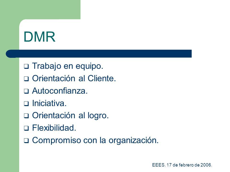 DMR Trabajo en equipo. Orientación al Cliente. Autoconfianza.