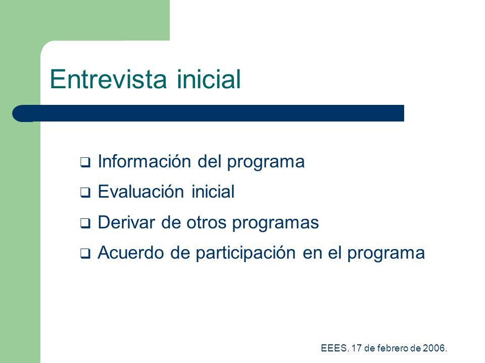 Entrevista inicial Información del programa Evaluación inicial
