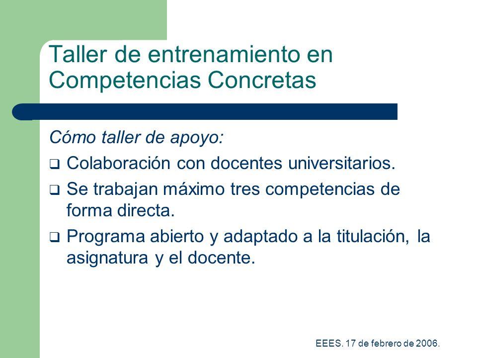 Taller de entrenamiento en Competencias Concretas