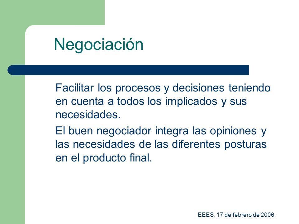 Negociación Facilitar los procesos y decisiones teniendo en cuenta a todos los implicados y sus necesidades.