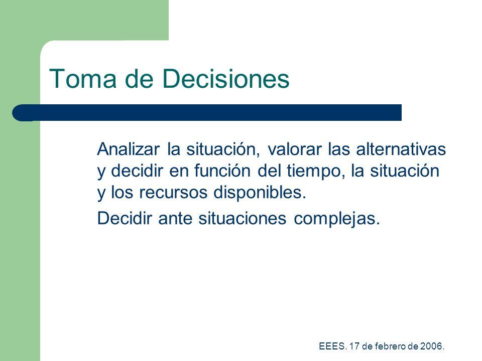 Toma de Decisiones Analizar la situación, valorar las alternativas y decidir en función del tiempo, la situación y los recursos disponibles.