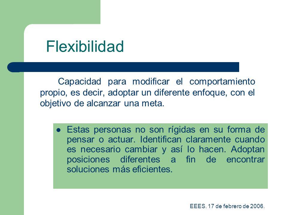 Flexibilidad Capacidad para modificar el comportamiento propio, es decir, adoptar un diferente enfoque, con el objetivo de alcanzar una meta.