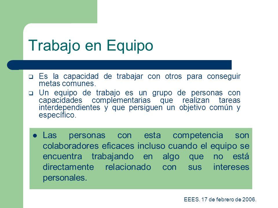 Trabajo en Equipo Es la capacidad de trabajar con otros para conseguir metas comunes.