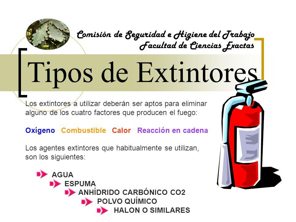 Tipos de Extintores Comisión de Seguridad e Higiene del Trabajo