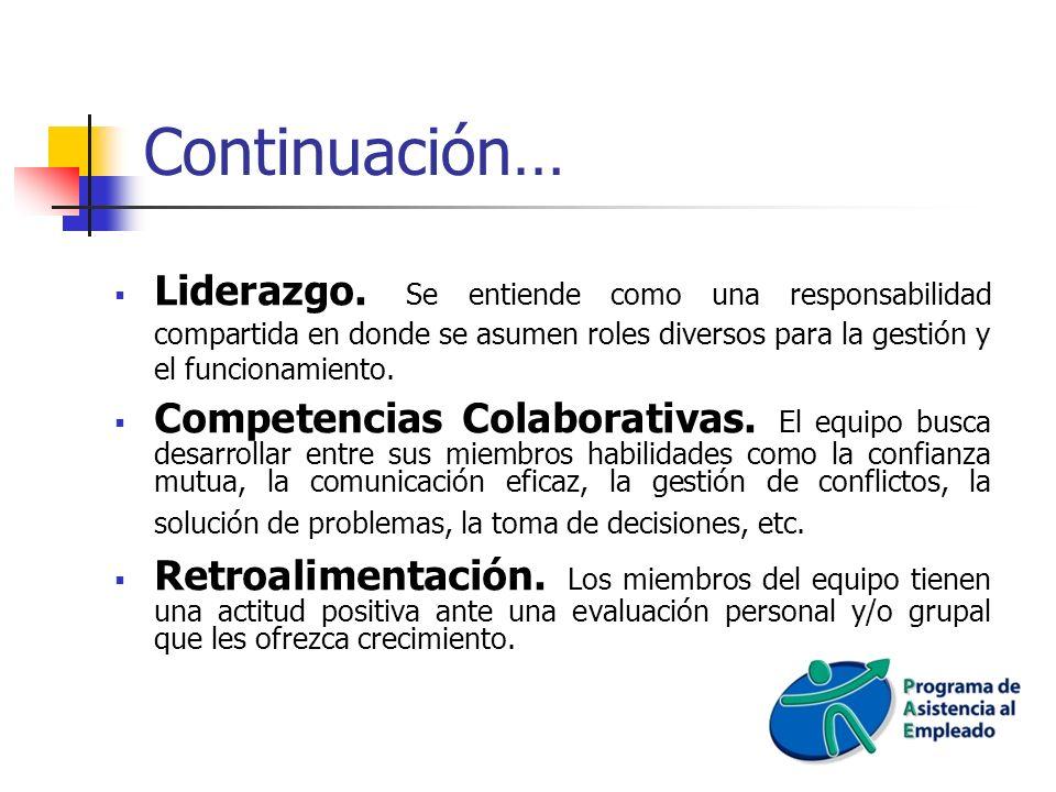 Continuación… Liderazgo. Se entiende como una responsabilidad compartida en donde se asumen roles diversos para la gestión y el funcionamiento.