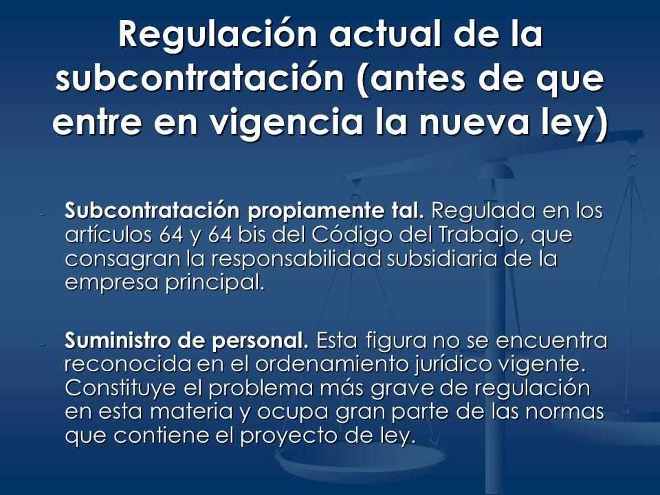 Regulación actual de la subcontratación (antes de que entre en vigencia la nueva ley)